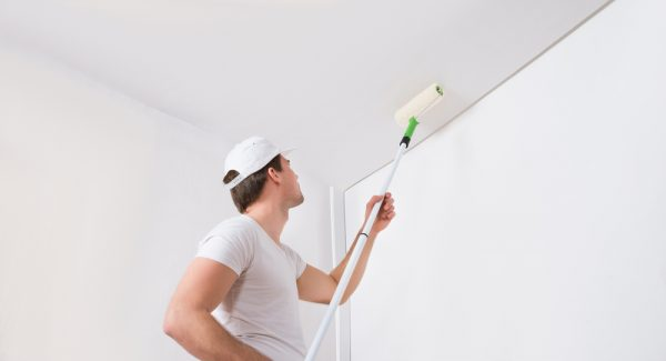 Worker painting interior