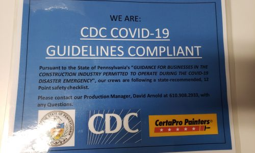 CertaPro Main Line CDC COVID-19 Guidelines Compliant sign.