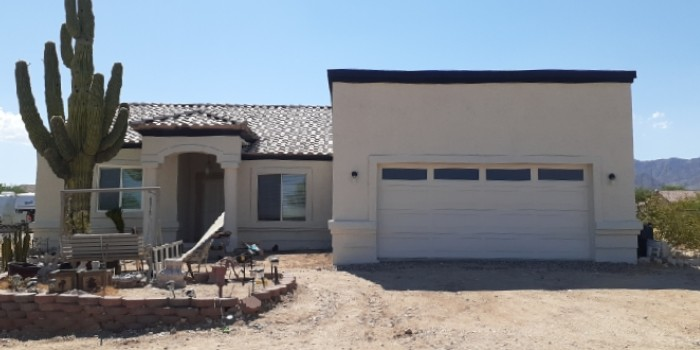 Stucco exterior after refinishing