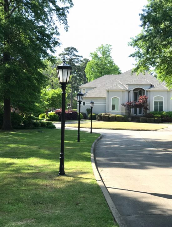 Line of refinished light posts in Little Rock