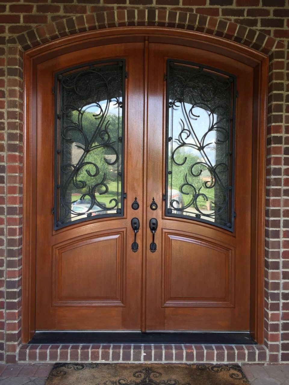 Stained entry door after painting